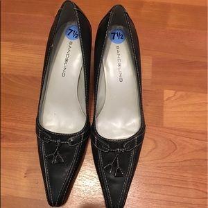 Kitten heel black leather brand new